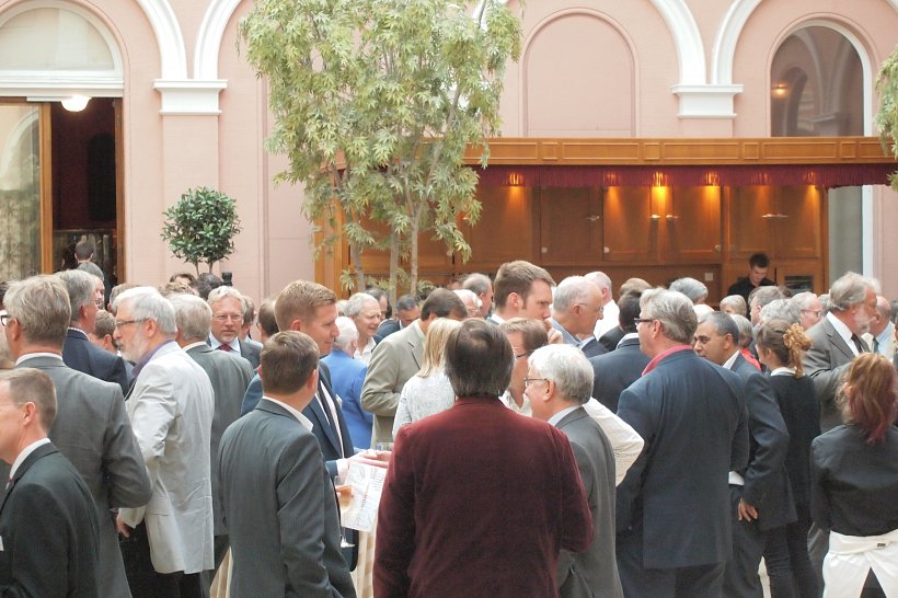 Guest gather at the 50 year anniversary event.