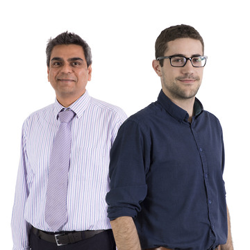 Pankaj Patel (left) and Mark Craven (right) pass their Institution of Civil Engineers (ICE) exams